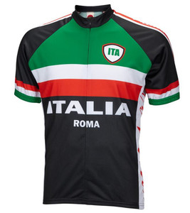 Italy Italia Roma Cycling Jersey by World Jerseys Men's Short Sleeve with DeFeet Socks