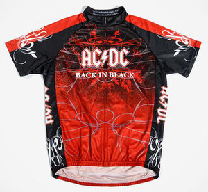 Primal Wear AC/DC Back In Black Short Sleeve Cycling Jersey with DeFeet Socks FREE SHIPPING