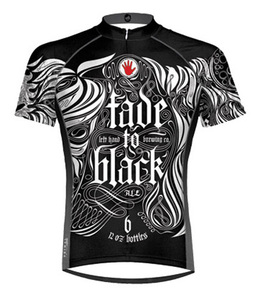 Left Hand Brewing Fade to Black Beer Cycling Jersey by Primal Wear with DeFeet Black Flame Socks