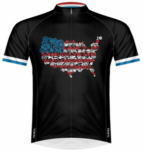 Primal Wear Merica USA Patriotic Bikes Cycling Jersey Men's Sport Cut Short Sleeve with DeFeet Socks