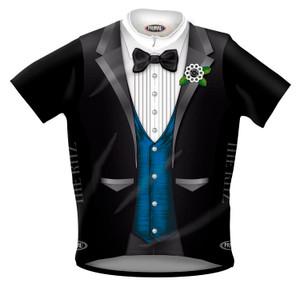 CLOSEOUT Primal Wear Ritz Tuxedo Cycling Jersey Blue Vest Version Men's XL