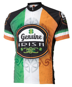 Genuine Irish Ireland Cycling Jersey by World Jerseys Men's Short Sleeve