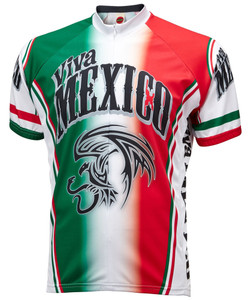 Viva Mexico Cycling Jersey by World Jerseys Men's Short Sleeve plus DeFeet Socks