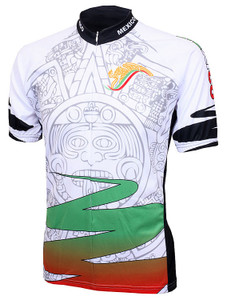 Mexico Aztec Cycling Jersey by World Jerseys with DeFeet Black Flame Socks