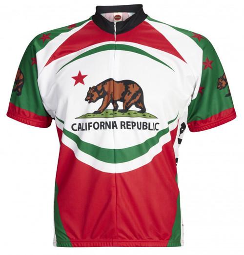California Bear Cycling Jersey by World Jerseys Men's Short Sleeve plus DeFeet Socks