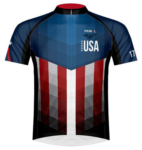 Primal Wear American Patriot USA flag Cycling Jersey Men's Short Sleeve with DeFeet Socks