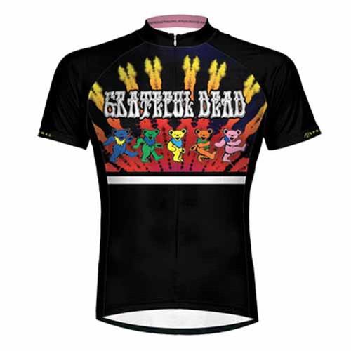 Primal Wear Grateful Dead Dancing Bears Cycling Jersey Men's Short Sleeve with DeFeet Socks