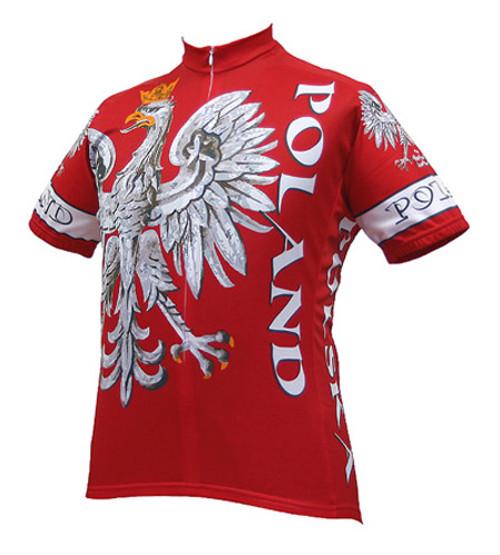Poland Polish Cycling Jersey by World Jerseys Men's Short Sleeve with DeFeet Socks