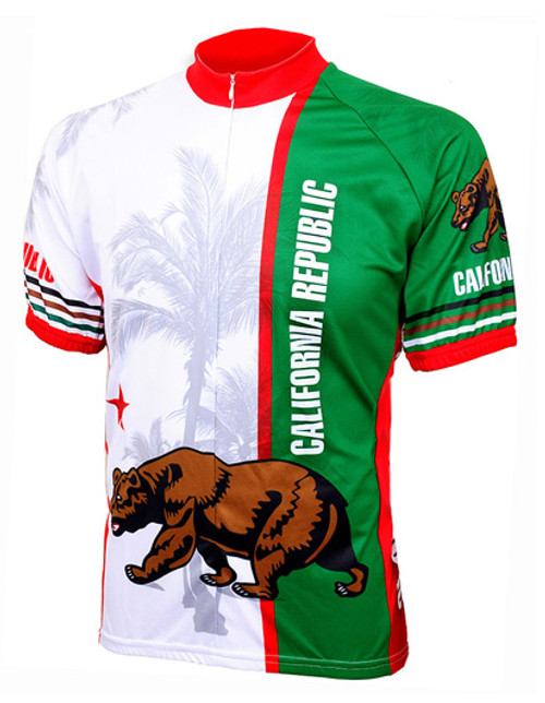California Republic State Flag Cycling Jersey by World Jerseys with DeFeet Black Flame Socks