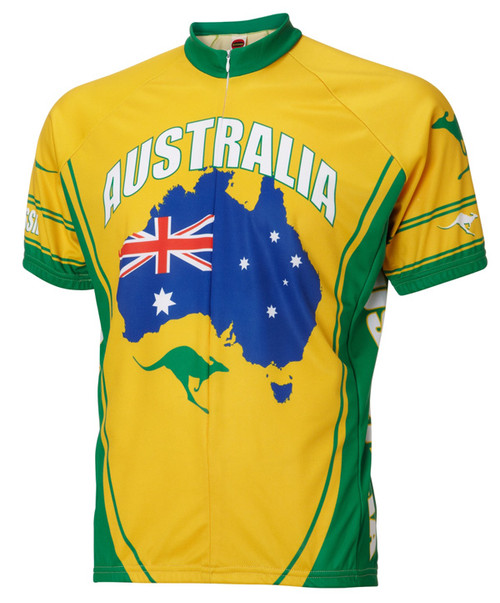 Australia Cycling Jersey by World Jerseys Men's Short Sleeve with DeFeet Socks