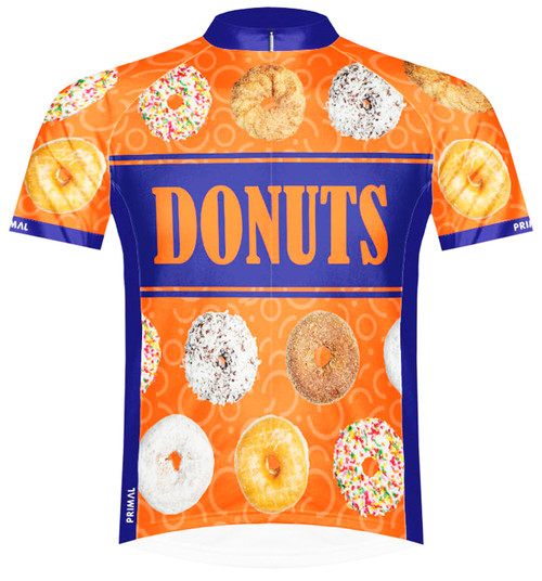 Primal Wear Donuts Cycling Team Jersey Men's Short Sleeve Bold Orange with DeFeet Socks