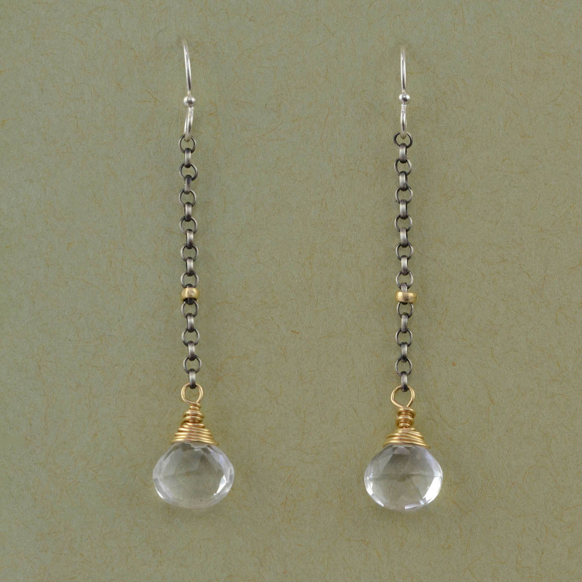 434f075d45e1a6 handmade dangle earrings with faceted crystal quartz: view 1