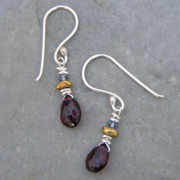 Handmade garnet drop earrings with sterling silver earring hooks