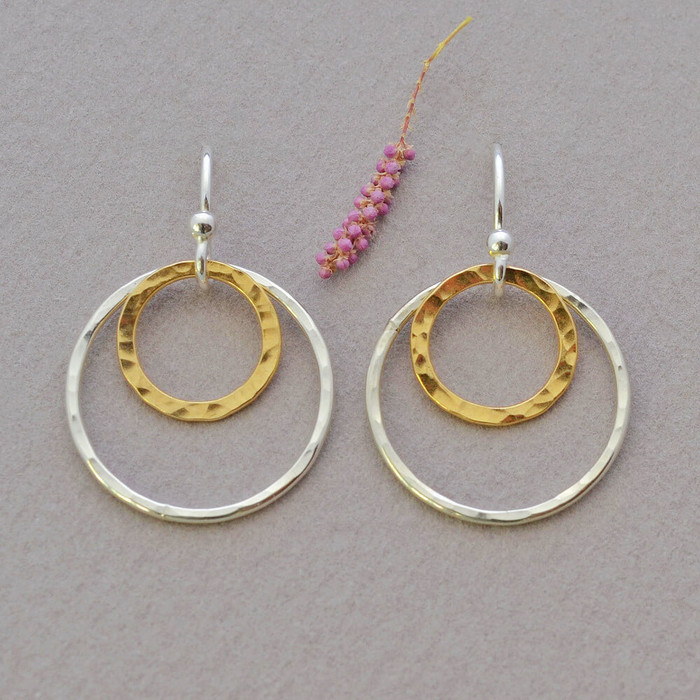 Hand Hammered double hoop earrings filled with 14kt
