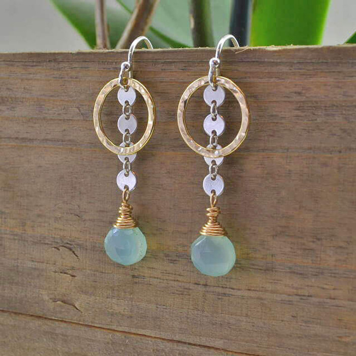 unique handmade dangling chalcedony earrings: view 1