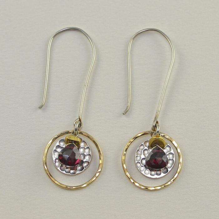 Circled Garnet Earrings in Gold