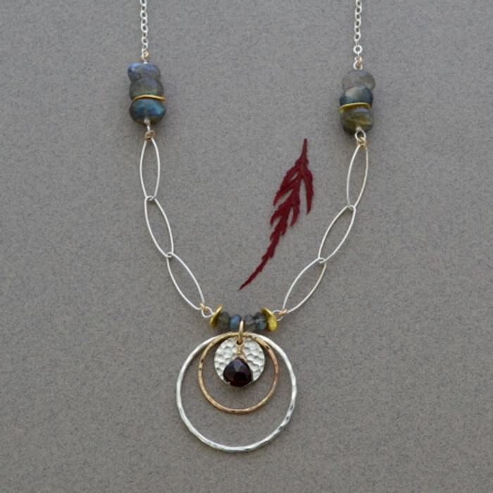 Gorgeous and unique red garnet necklace with hand hammered sterling silver : view 1