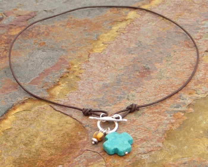 African Trade Bead & Turquoise Cross Necklace