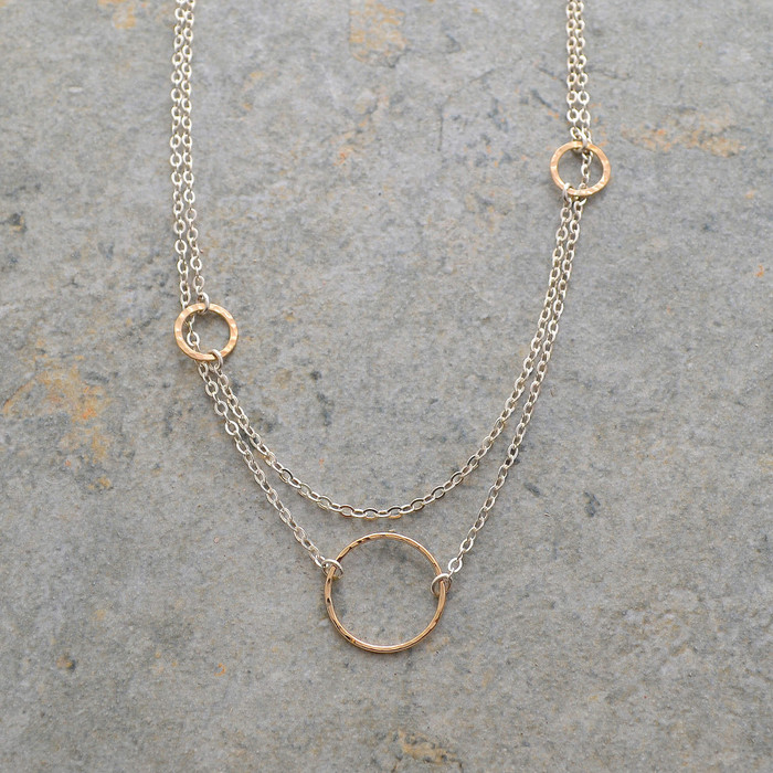 Elegant Sterling and and Textured Gold Necklace