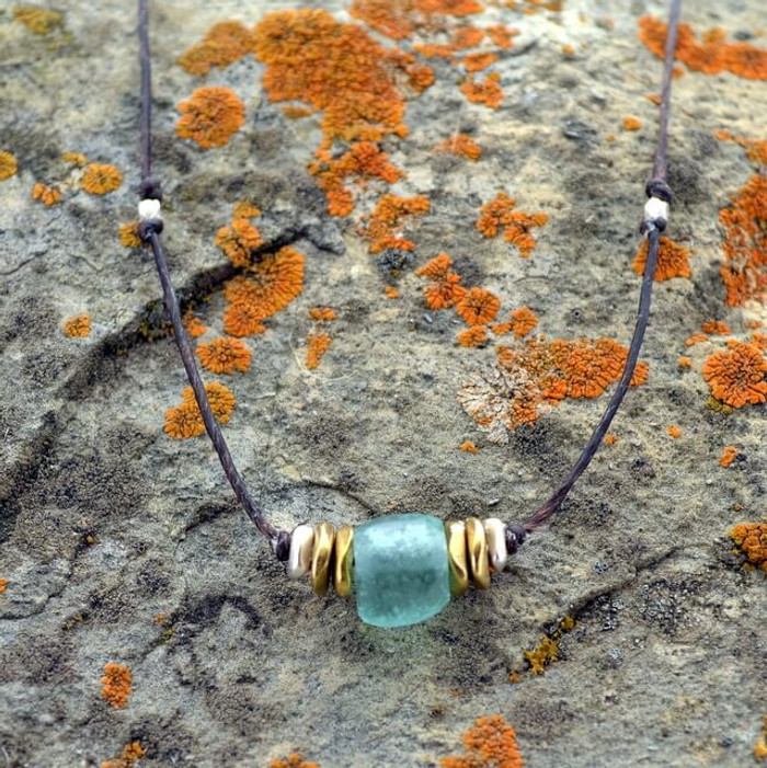 recycled glass jewelry with linen cord: view 1