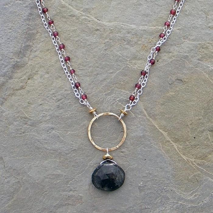 Wrapped Garnets & Tibetan Black Quartz Necklace