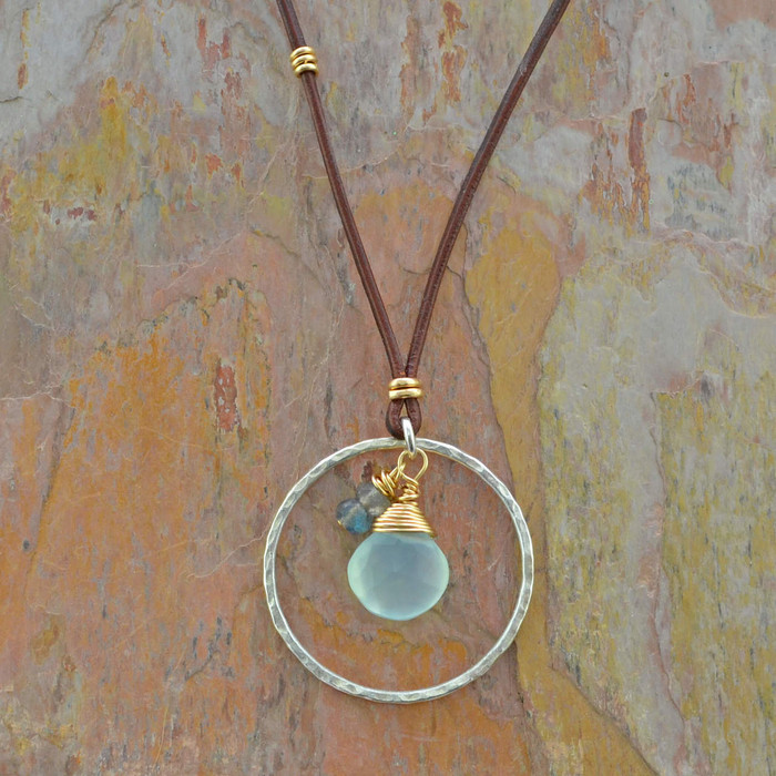 Chalcedony & Labradorite teardrop necklace: view 1