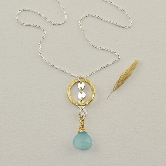 Blue chalcedony necklace made with 14kt gold filled circle: view 1