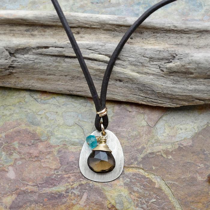Sterling Center Smokey Quartz Necklace