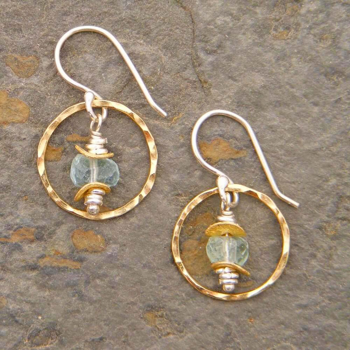 Petite aquamarine hoop earrings