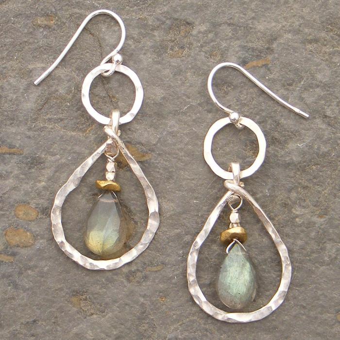 Teardrop Sterling and Labradorite Earrings