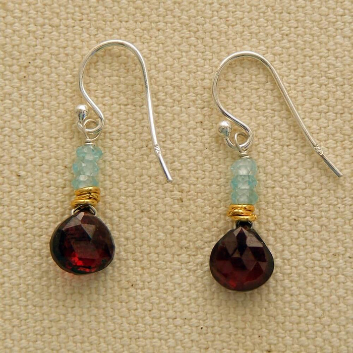 Rosy Garnet and Aquamarine Earrings