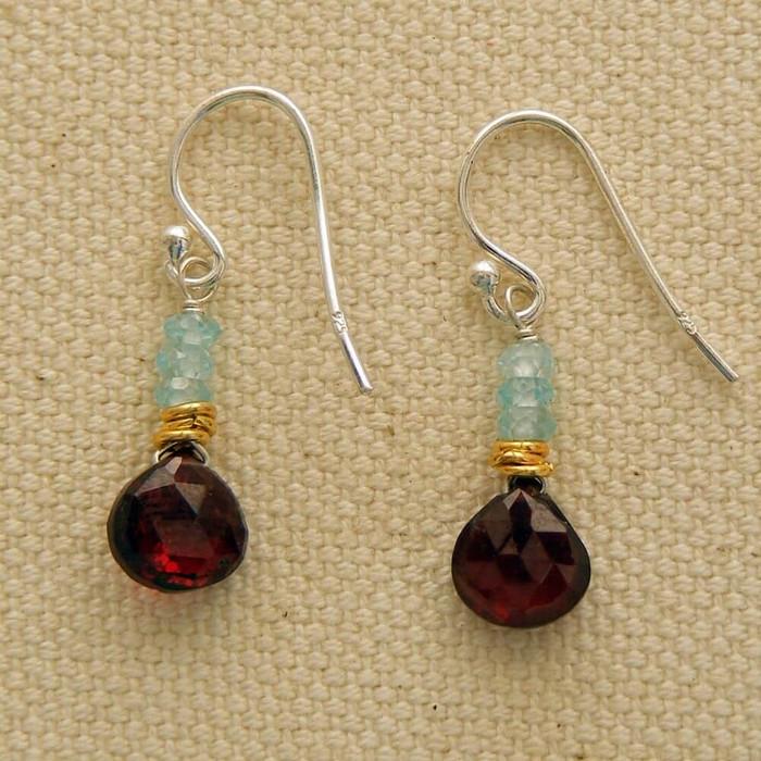 Rosy Garnet and Aquamarine Earrings