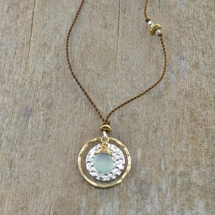 Chalcedony on Hammered Silver Necklace: view 1