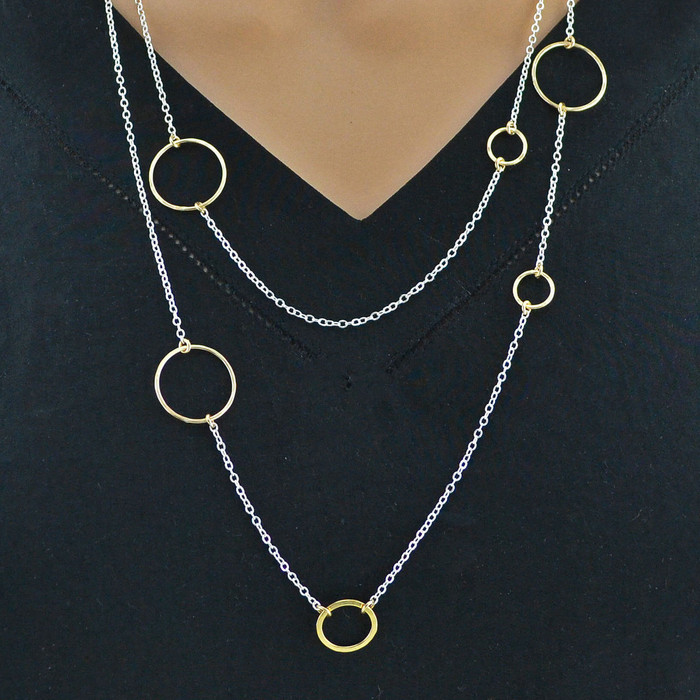 Shimmering Multilayer Sterling Silver Necklace Chain