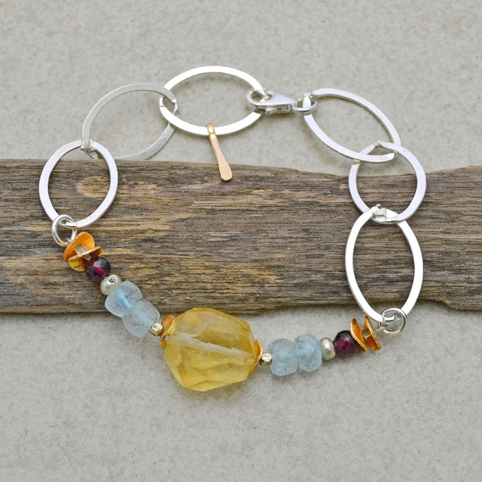 Organic Citrine and Sterling Links Bracelet