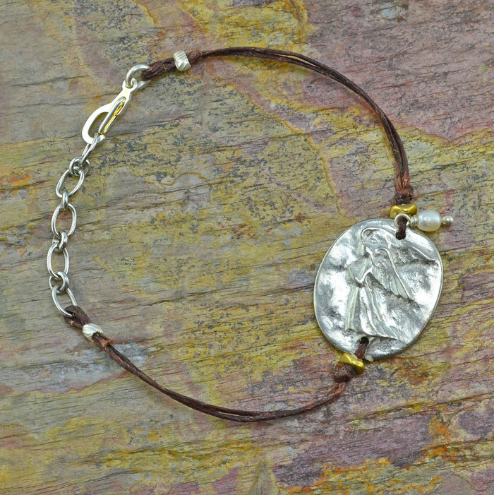 Pewter handmade charm bracelets with guardian angel charm