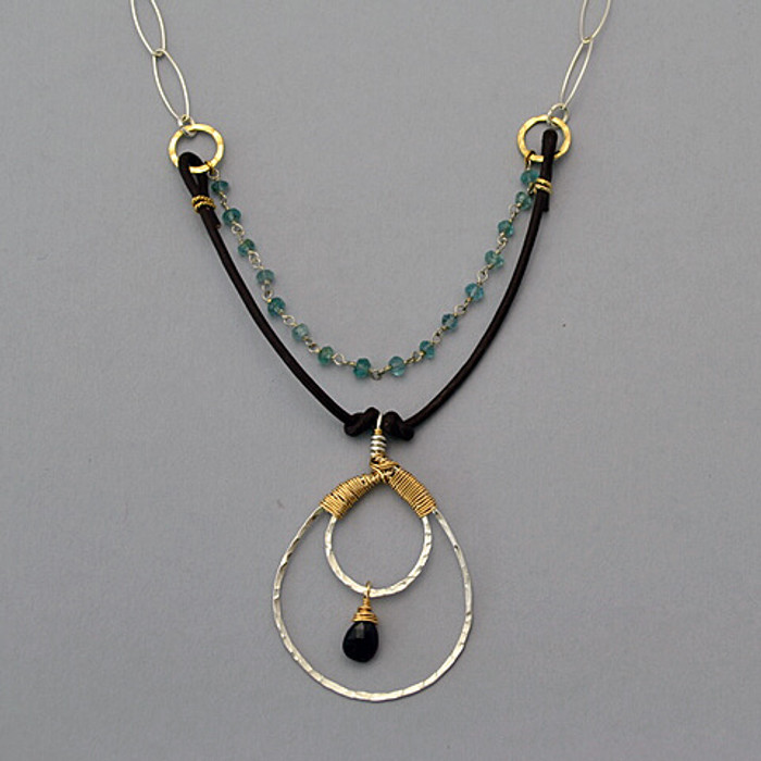 double layered necklace made with garnet and apatite stones: view 2