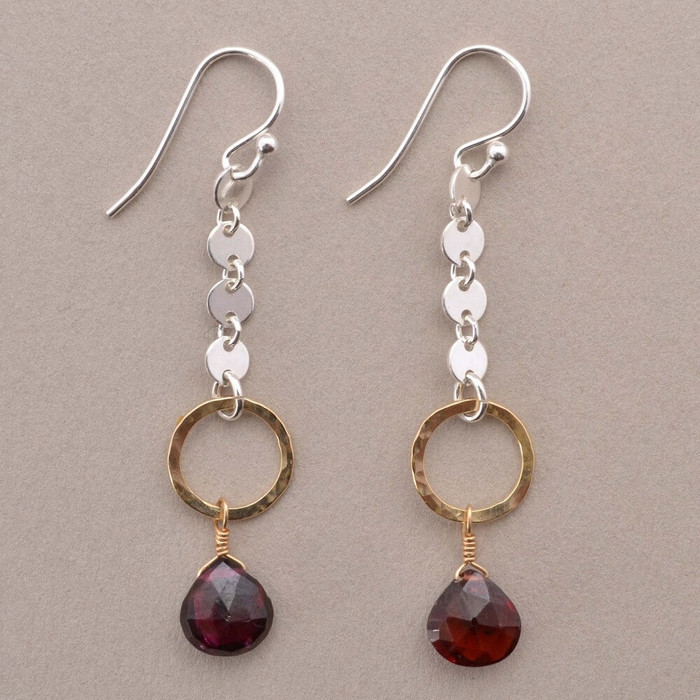 Garnet dangle earrings with 14kt gold filled circles