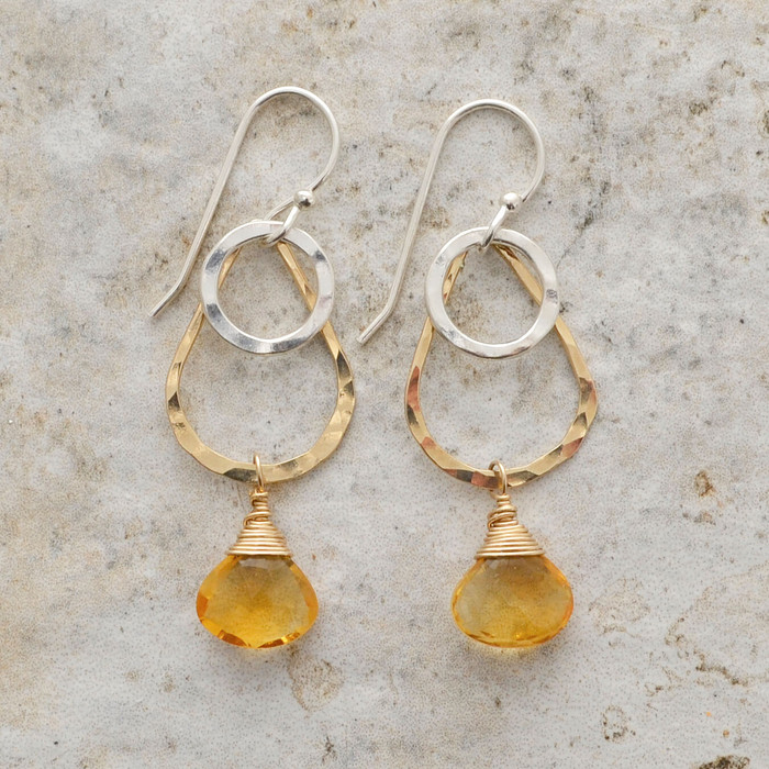 Dangling Citrine Teardrop Earrings