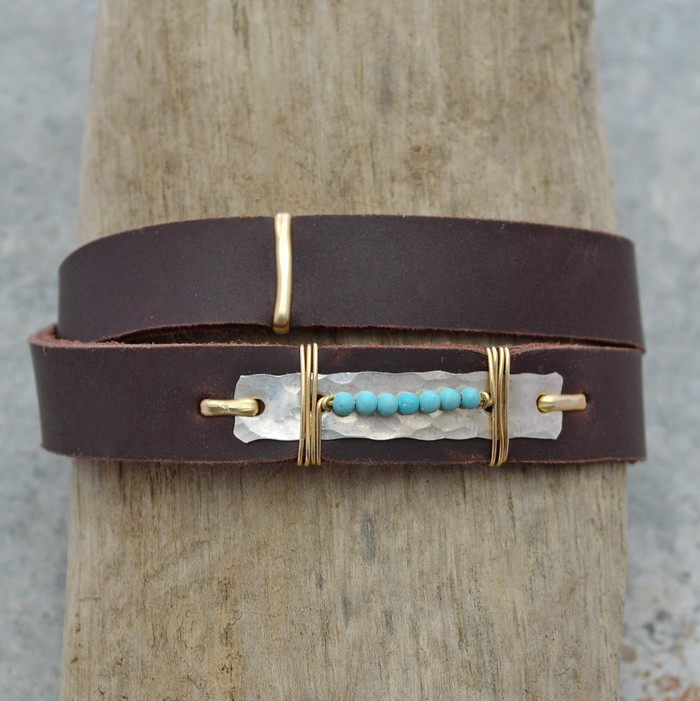 Turquoise Drops Leather Wrap Bracelet
