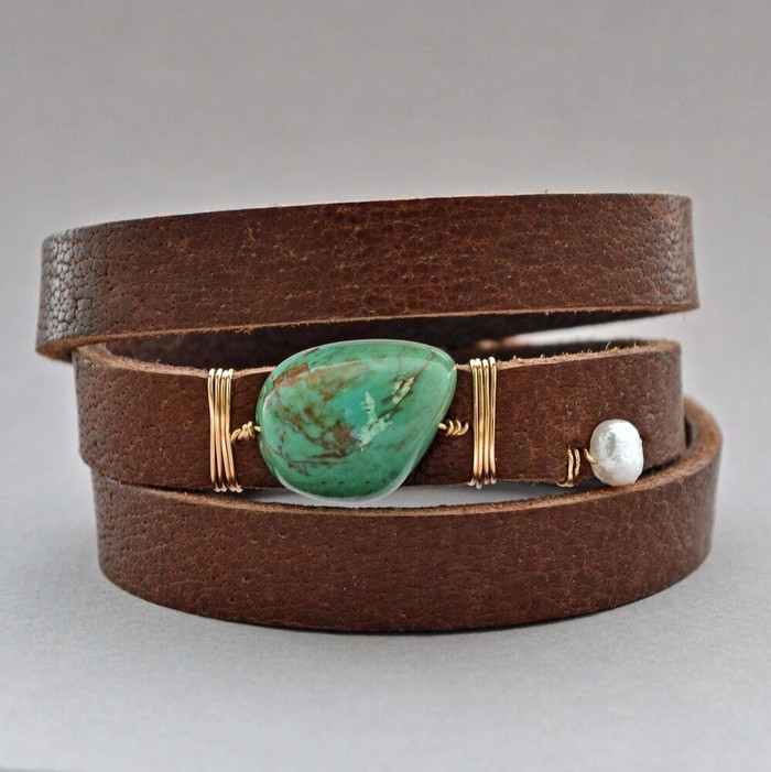 Handmade leather turquoise cuff with freshwater pearl