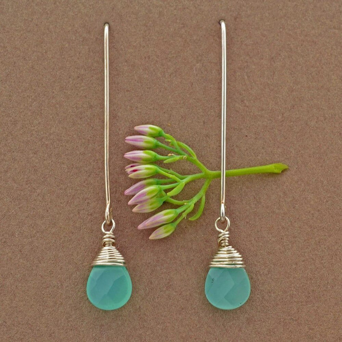 Delicate chalcedony drop artisan earrings
