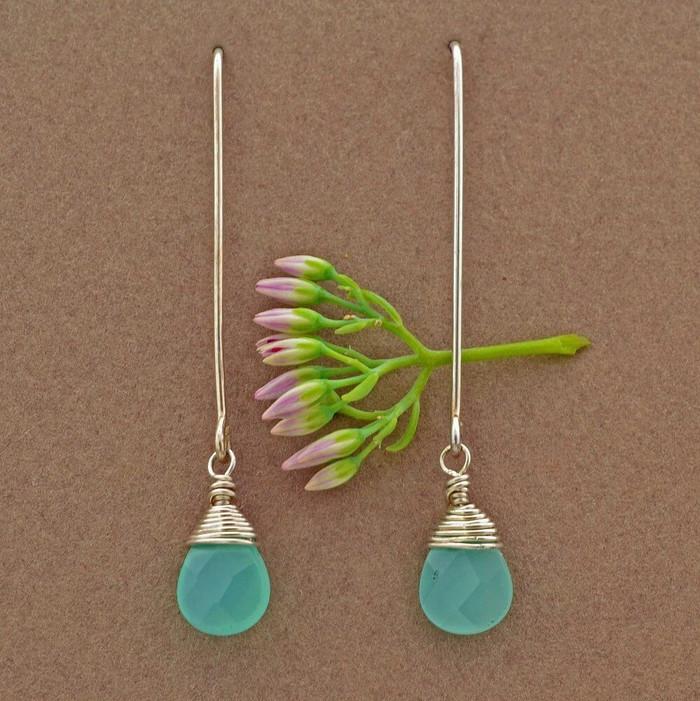 Delicate chalcedony drop artisan earrings