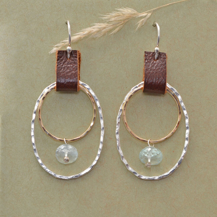 handmade sterling silver earrings with eco-friendly crimson leather and aquamarine gemstones