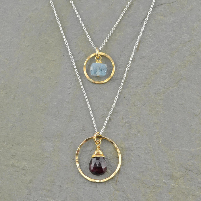garnet and aquamarine long chain necklace