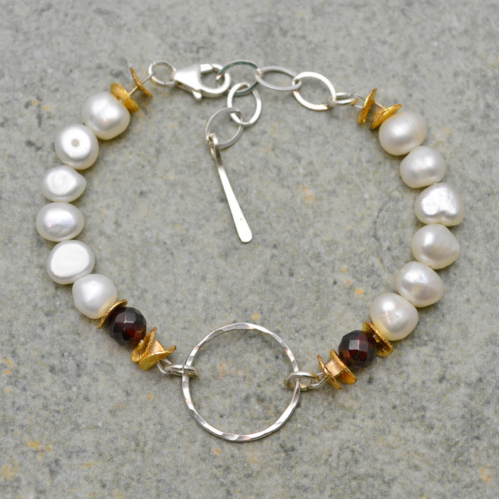 Hammered Sterling Center & White Pearl Bracelet