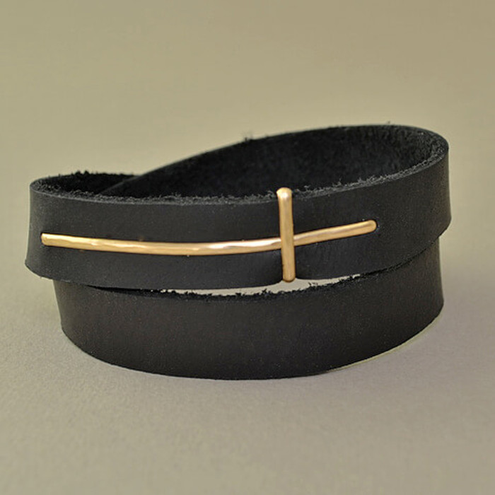 14 kt gold filled cross leather cuff
