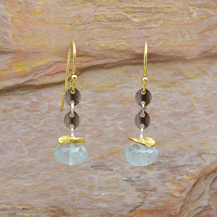 Faceted Aquamarine and Oxidized Sterling Links Earrings