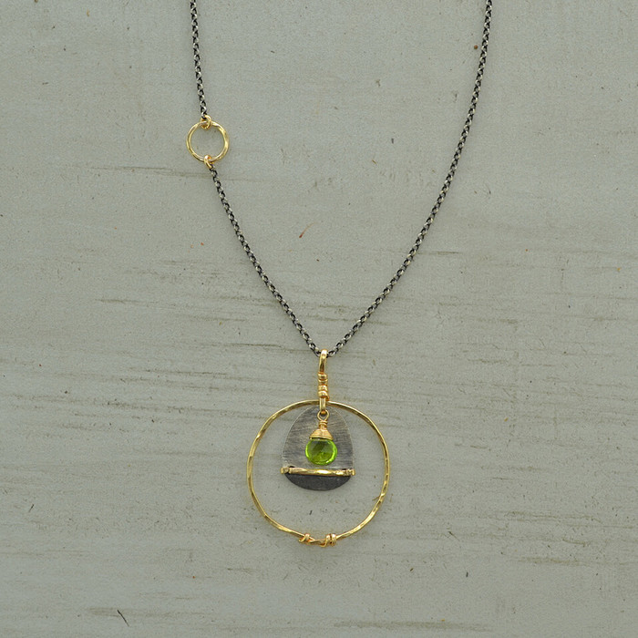 Circled Peridot Necklace