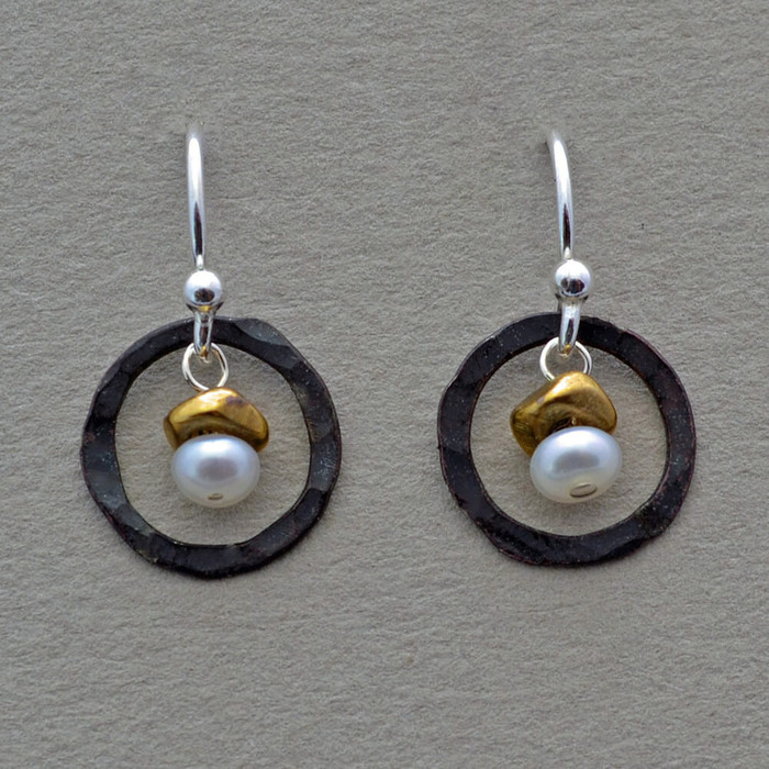 Unique pearl earrings with oxidized sterling silver circles